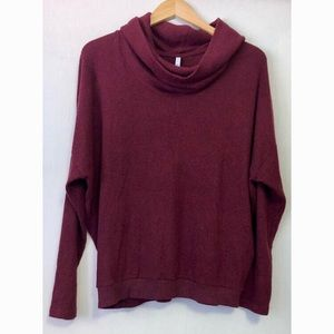 Z-Supply maroon plush cowl neck knit tunic top